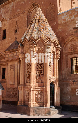 Courtyard and  entrance to the mausoleum of the 18th Century Ottoman architecture of the Ishak Pasha Palace Turkey