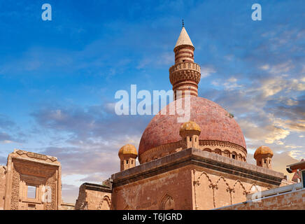 Minarete of the Mosque of the 18th Century Ottoman architecture of the Ishak Pasha Palace (Turkish: İshak Paşa Sarayı) ,  Agrı province of eastern Tur