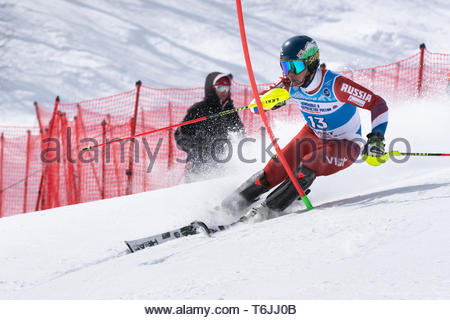 MOROZNAYA MOUNTAIN, KAMCHATKA, RUSSIA - MAR 29, 2019: International Ski Federation Championship, Russian Alpine Skiing Championship, slalom. Mount ski - Stock Photo