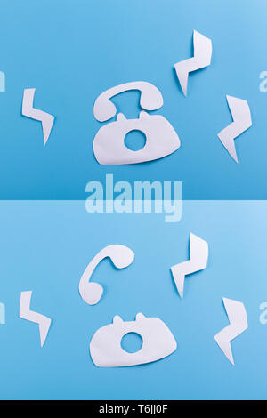 cartoon phone calls on the blue background - Stock Photo
