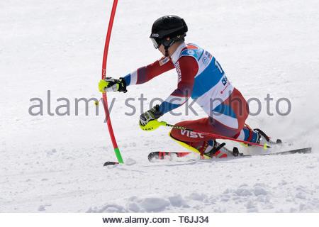 MOROZNAYA MOUNTAIN, KAMCHATKA, RUSSIA - MAR 29, 2019: International Ski Federation Championship, Russian Alpine Skiing Championship, slalom. Mount ski - Stock Photo