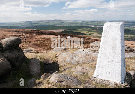 One of a series of images captured on a 7.5 mile walk from the village of Wycoller onto the slopes of Boulsworth Hill and the peak of Lad Law at 517m. - Stock Photo