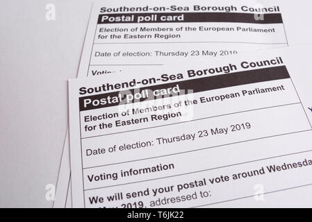 European Parliament election, 2019, postal polling card. Election of Members of the European Parliament for the Eastern Region. Southend on Sea, Essex - Stock Photo