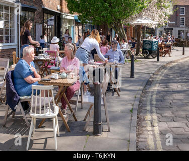Tea and cakes on a warm Spring afternoon in York, UK - Stock Photo