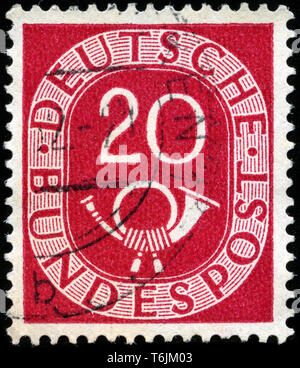 Postage stamp from the Federal Republic of Germany in the Posthorn series issued in 1951