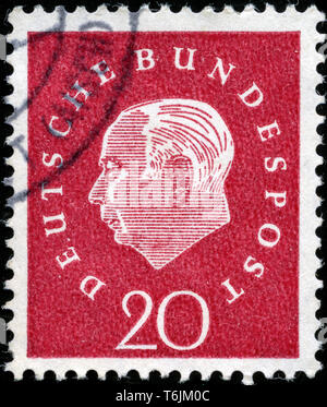 Postage stamp from the Federal Republic of Germany in the Federal President Theodor Heuss series issued in 1959