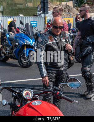 Southend shakedown motorcycle meet organised by the Ace cafe. Ester Bank holiday Monday. - Stock Photo