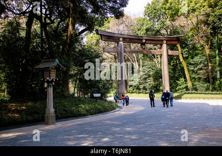 TOKYO, JAPAN - MARCH 25, 2019: Entrance at Meiji-jingu temple in Central Tokyo, Japan. - Stock Photo