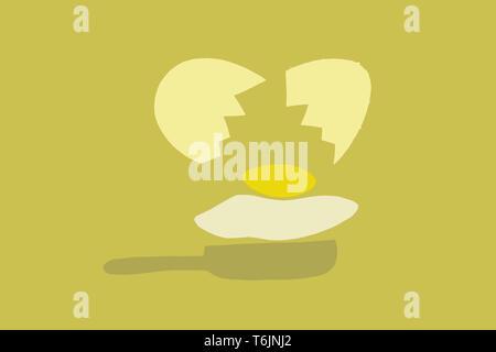 Scrambled eggs on the pan. illustration - Stock Photo