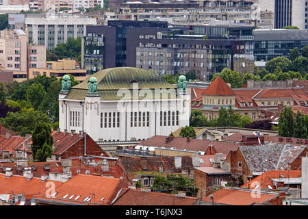 ZAGREB, CROATIA – JUNE 12, 2013: View over the roofs to the Croatian national State Archives in Zagreb - Stock Photo