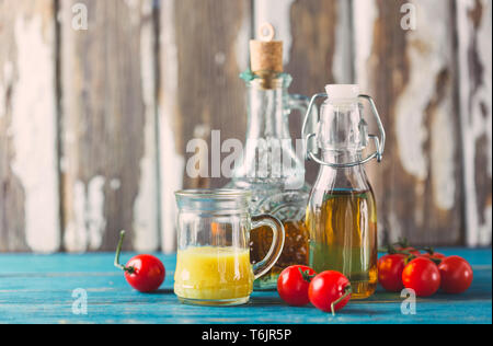 Homemade sauces and salad dressings - Stock Photo