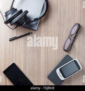 Flat lay office tools and supplies - Stock Photo