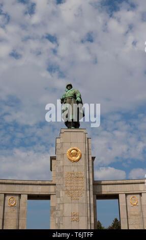 Soviet War Memorial in Berlin Tiergarten, Germany - Stock Photo