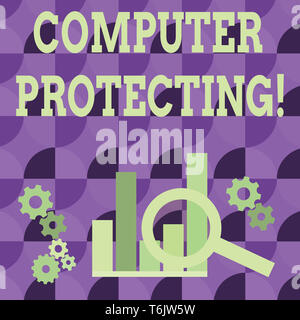 Conceptual hand writing showing Computer Protecting. Concept meaning protecting computer against unauthorized intrusions Magnifying Glass On Chart bes - Stock Photo