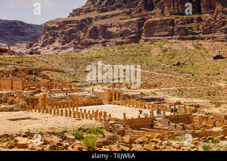 Elevated view of ruins of The Great Temple Complex, dating from the 1st century BC, Petra, Jordan. - Stock Photo