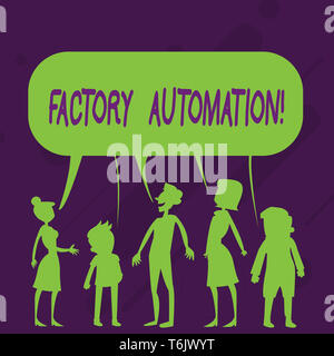 Word writing text Factory Automation. Business photo showcasing automatic operation and control of machinery or processes Silhouette Figure of People  - Stock Photo