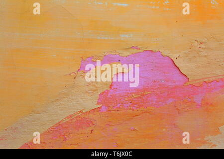 Peeling paint and plaster on the wall surface - Stock Photo