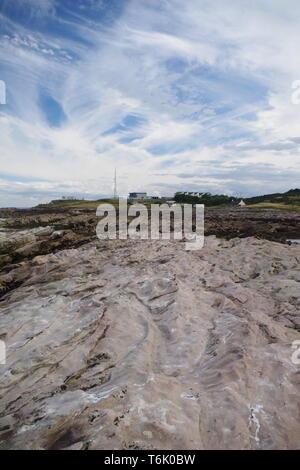 White Calcitic Carboniferous Sandstone Exposed along the Fife Coast. Scotland, UK. - Stock Photo