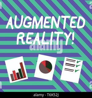 Conceptual hand writing showing Augmented Reality. Concept meaning interactive experience of a realworld environment Presentation of Bar, Data and Pie - Stock Photo