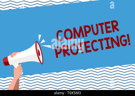 Conceptual hand writing showing Computer Protecting. Concept meaning protecting computer against unauthorized intrusions Human Hand Holding Megaphone  - Stock Photo