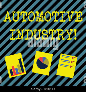 Text sign showing Automotive Industry. Business photo showcasing organizations involved in the business of motor vehicles Presentation of Bar, Data an - Stock Photo