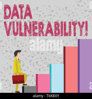 Handwriting text Data Vulnerability. Conceptual photo weakness of a data which can be exploited by an attacker Businessman Carrying a Briefcase is in  - Stock Photo