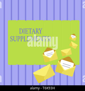 Writing note showing Dietary Supplements. Business concept for Product taken orally intended to supplement ones diet Closed and Open Envelopes with Le - Stock Photo