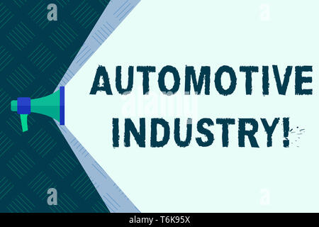 Word writing text Automotive Industry. Business photo showcasing organizations involved in the business of motor vehicles Megaphone Extending the Capa - Stock Photo