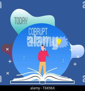 Conceptual hand writing showing Corrupt Politician. Concept meaning a public leader who misuse of public authority and fund Man Standing Behind Open B - Stock Photo