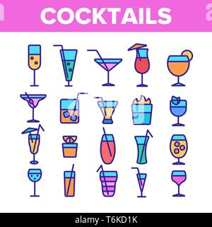 Cocktails, Alcohol and Soft Drinks Linear Icons Set - Stock Photo