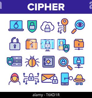 Cipher, Data Protection Linear Vector Icons Set - Stock Photo