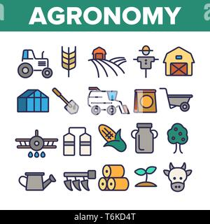 Agronomy Industry Vector Thin Line Icons Set - Stock Photo