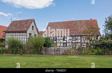 Half-timbered houses in  Ermatingen, Switzerland - Stock Photo