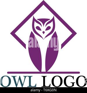 Owl head bird logo vector template - Stock Photo