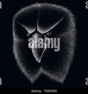 The Vector logo eagle for tattoo or T-shirt design or outwear.  Hunting style eagle background. - Stock Photo