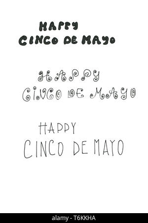 Three Cinco de Mayo handlettered types - Stock Photo