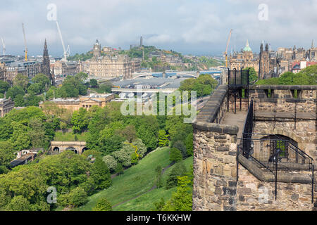 Aerial view at city of Edinburgh with Waverley station - Stock Photo