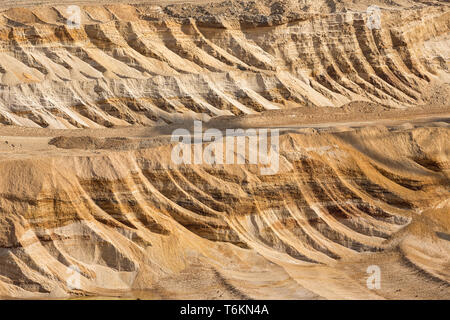 Background of digged soil in brown coal open pit mine - Stock Photo