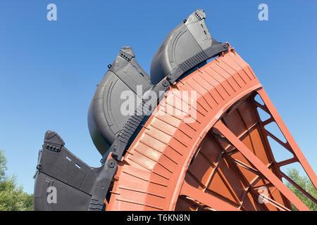 Detail bucket wheel digging excavator open pit coal mines Germany - Stock Photo