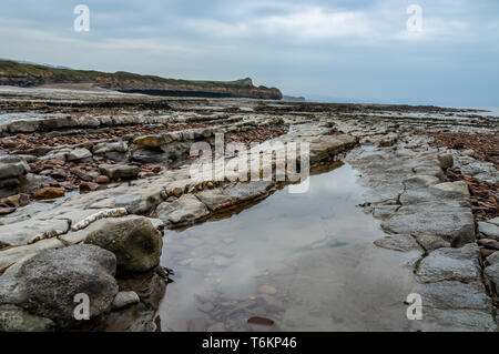 Rock formations exposed at low tide - Stock Photo