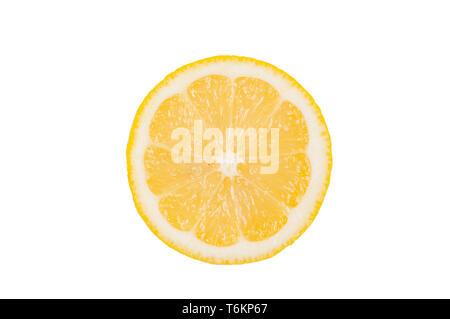 Fresh lemon slice on white background - Stock Photo