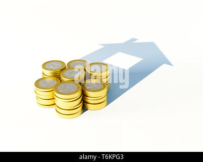 growing stack of coins for finance and banking concept, 3d rendering - Stock Photo