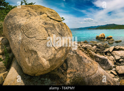 Beautiful  beach. Stones on a foreground.  Vietnam - Stock Photo