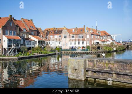Cityscape Enkhuizen, Dutch historic city at lake IJsselmeer - Stock Photo
