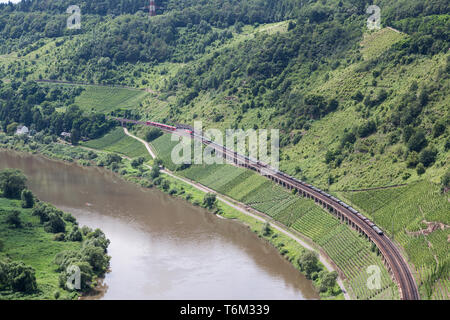Aerial view two trains along the river Moselle in Germany - Stock Photo