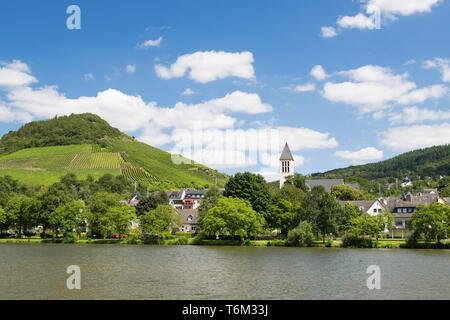 Small town Bullay along river Moselle in Germany - Stock Photo