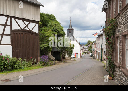 Historic village Starkenburg along the river  Moselle in Germany - Stock Photo