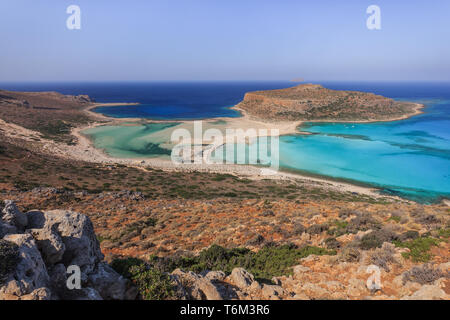 panoramic view of the most beautiful beach of the Crete - Balos lagoon - Stock Photo