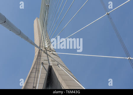 Pylon with steel cables from French bridge Pont de Normandie - Stock Photo