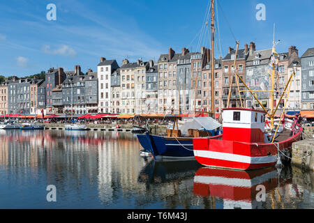 Fishing ship in old medieval harbor Honfleur, France - Stock Photo